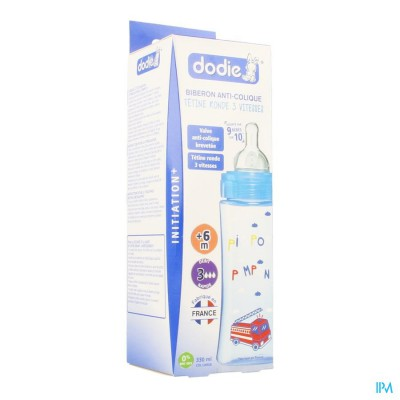 Dodie Zuigfles Iniiation+ Speen 3 Gat Blauw 330ml